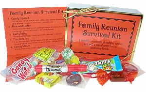 "Family Reunion Survival Kit-Now and Later –      Laffy Taffy or nuts  - "" Families are like fudge…mostly sweet with a few nuts."""
