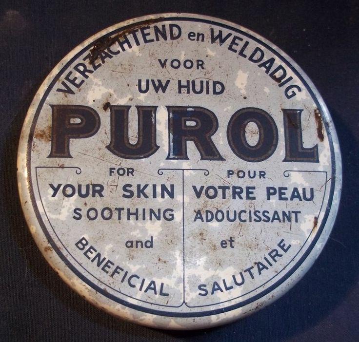 Vintage blikken doos Purol zalf pommade vieille boite en tôle tin box container   eBay