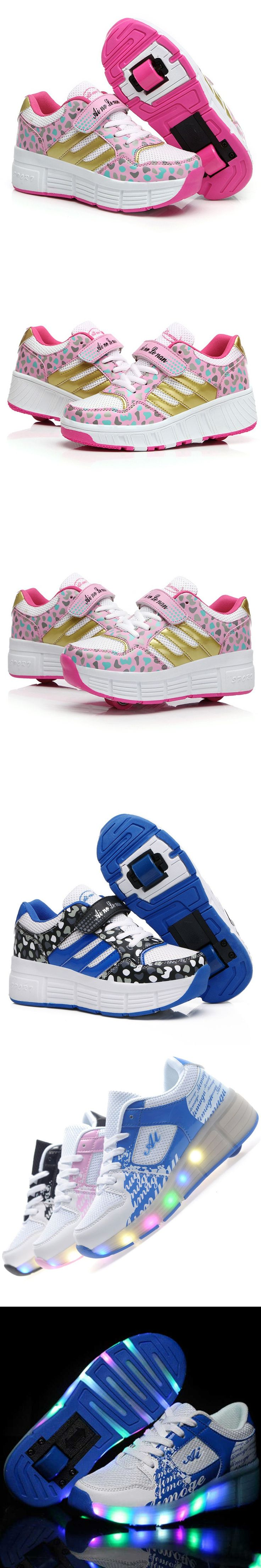 2016 two wheels heelys roller shoes, boys and girls Heelys shoes with wheels children, lights heelys sneakers with wheels kids