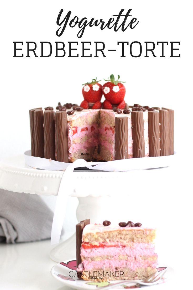 Yogurette und Erdbeeren - das ist die Traumfüllung. Hier habe ich einen hellen Wiener Boden mit leichtem Schokogeschmack mit einer leckeren Erdbeer-Yogurette-Creme gefüllt und mit einer Milchmädchen Buttercreme umhüllt. Außenrum Yogurette Riegel und obendrauf Erdbeerdeko und Schokoherzen. Das genaue Rezept findet Ihr auf meinem Blog.
