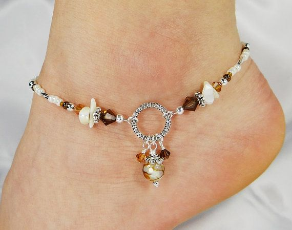 Brass and Calcite Beaded Anklet from Thailand - Ringing Beauty ...