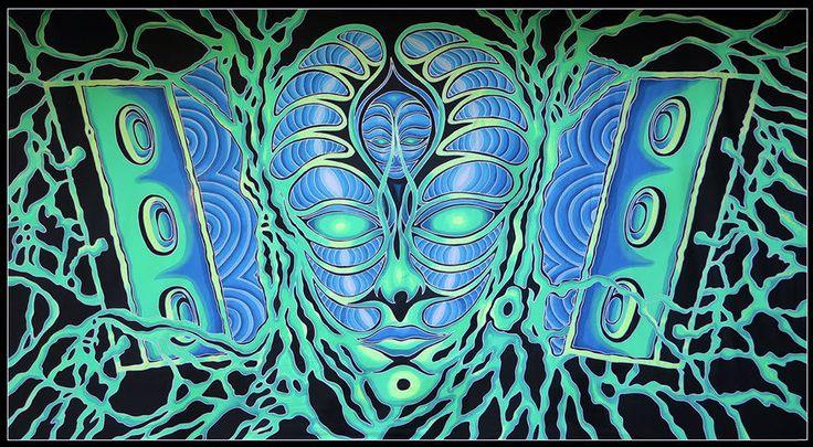 XXL UV Backdrop Psylence Psy Wandbehang 3,7m x 2m Hippie Goa Tuch Wandtuch Kunst