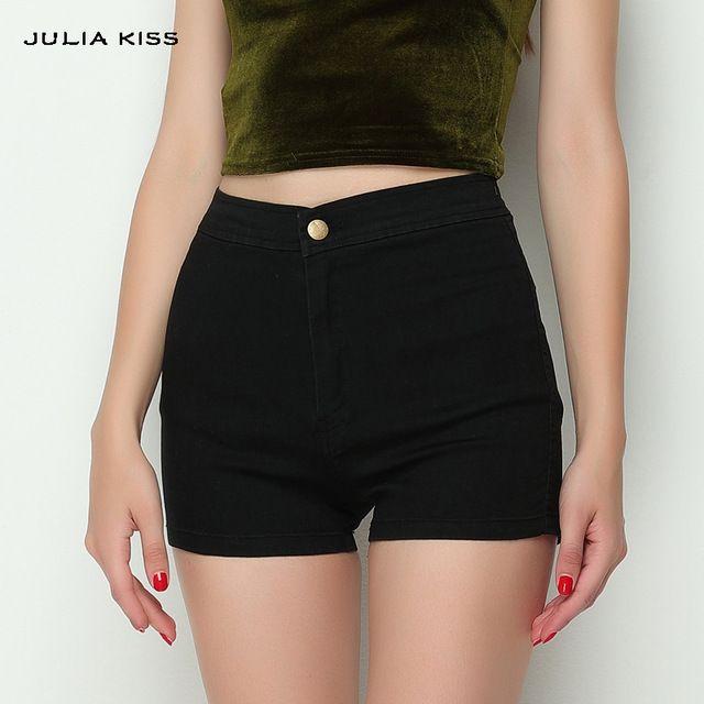 Mujeres Ropa de La Vendimia Inferior Delgado ajustada de Talle Alto Pantalones Cortos de Mezclilla Sexy Shorts