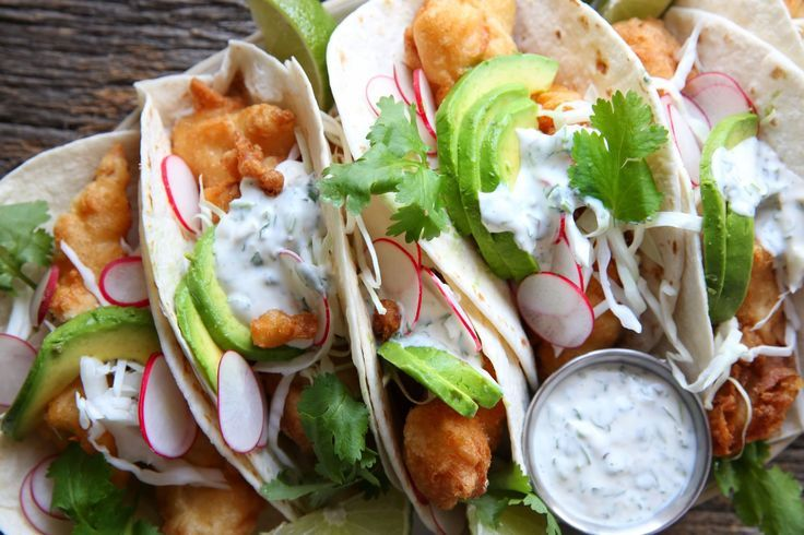 Beer-Battered+Fish+Tacos+with+Jalapeño+Crema - Delish.com