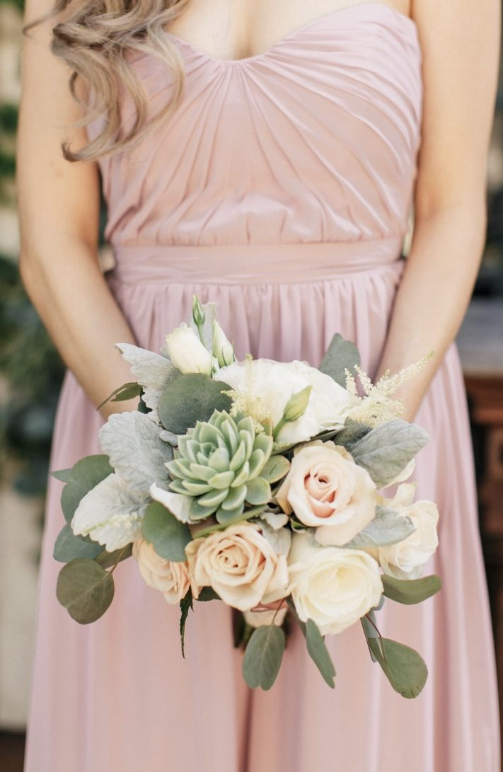 Bridesmaid succulent bouquet. Blush, grey, green bouquet at The Villa, SJC. Florals by Jenny// Joy n Company// Crystal Nicole Photography