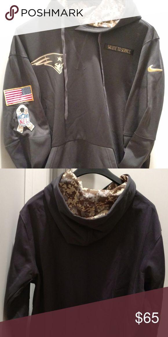 NWOT Patriots Salute To Service Hoodie Brand new, never worn, charcoal grey Patriots Salute to Service Sweatshirt.  Hard to find style! Size men's large. Shirts Sweatshirts & Hoodies