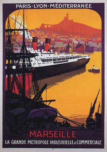 affiche de tourisme : paquebots MARSEILLE