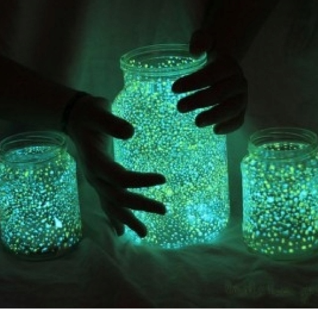 Mason jars with glow and the dark paint
