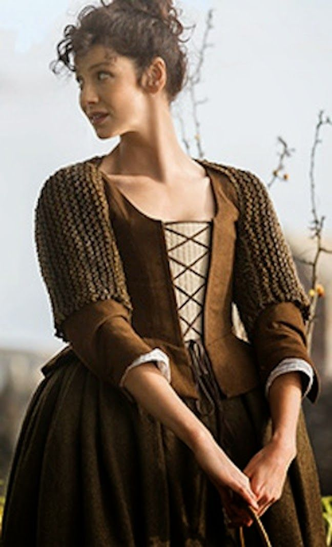 "Claire's brown dress with criss-cross laced stomacher and knit shrug | Outlander on Starz | Costume Designer TERRY DRESBACH || A guide to ""Inner Wild"" garments worn in Outlander you can purchase."