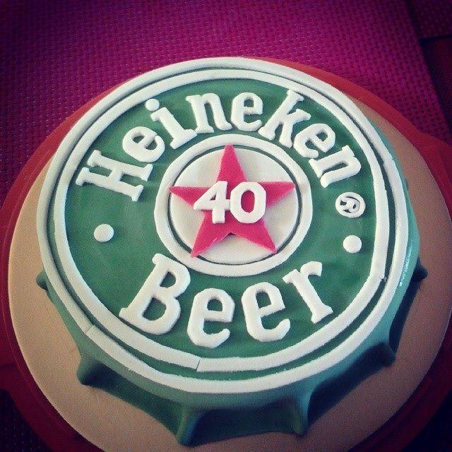 Heineken Beer cup fondant icing cake