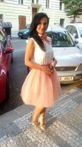 White sleeveless shirt, pink tutu skirt (ballerina skirt) and pink bow tie. Learn more about how to wear a bow tie >>> http://justbestylish.com/9-tips-how-to-wear-a-bow-tie-for-women/