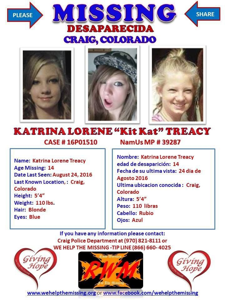 Find missing Katrina Lorene Treacy! features the case of a teen girl who  was initially classified as a runaway but who has been missing over 17  months.