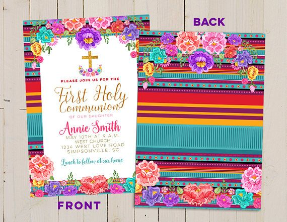 Mexican first communion invitation, Baptism Fiesta Invitation, Papel Picado Baptism, Floral mexican invitation, girl baptism invitation