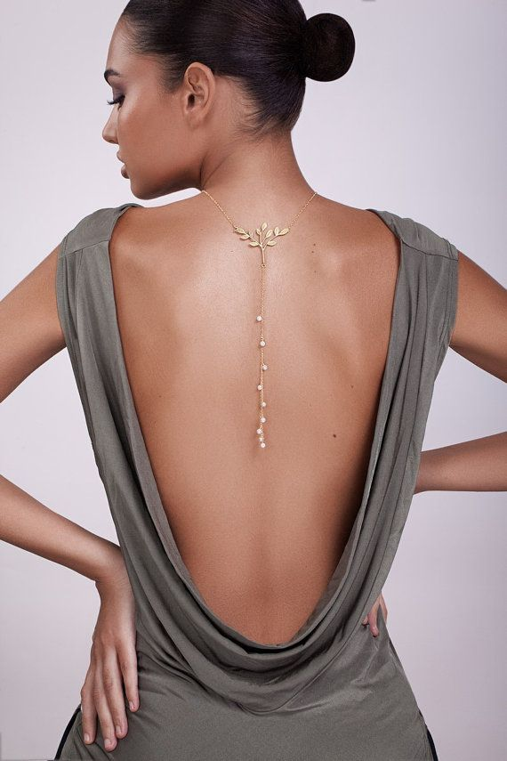 Gold Back Drop Necklace   pearl back drop by shirliclassicjewelry