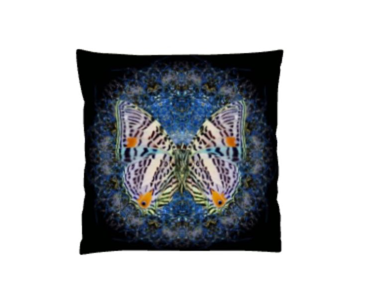 Spirograph Butterfly cushion (Blue)