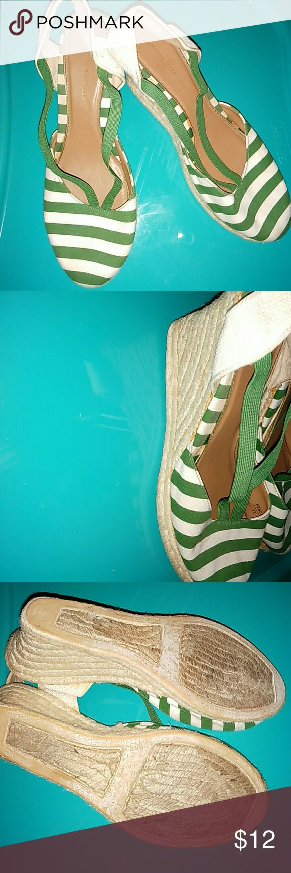 Green & White Espadrilles /size 9.5 Great condition. Montego Bay Club Shoes Espadrilles