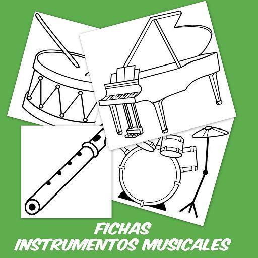 Fichas de instrumentos musicales: Guitarra, piano, trompeta, flauta.... Instrumentos musicales para aprender y colorear Fichas para imprimir: Selecciona la