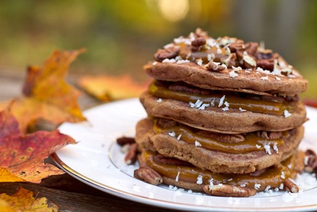 Spiced Up & Stacked Pumpkin Butter Pancakes For One