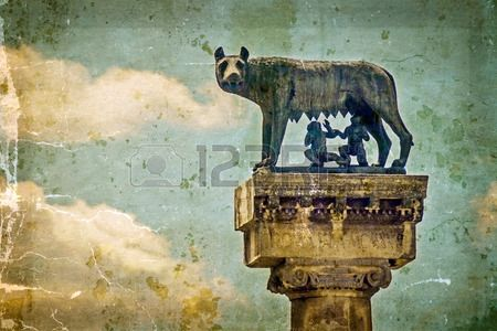 Statue with wolf, Remus and Romulus.Symbols of Timisoara, Romania. Image digitally manipulated as one old photo.