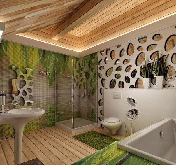 Interiér kúpeľne ,ktorá Vás zaujme prírodnými materiálmi. Máte pocit, akoby ste sa kúpali či sprchovali v prírode