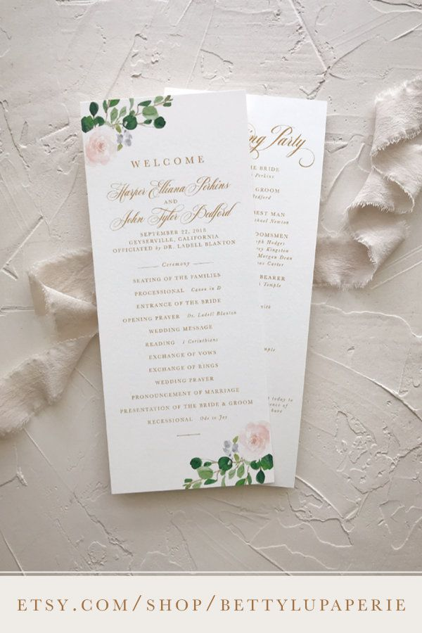 Blush and Blue Wedding Program Dusty Blue and Blush Wedding Program Floral Wedding Program