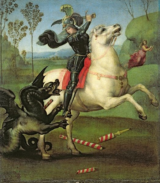 http://en.wikipedia.org/wiki/St._George_(Raphael,_Louvre)