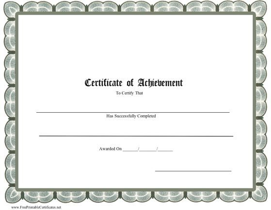 This printable certificate of achievement is bordered in distinguished grey scallops. Free to download and print