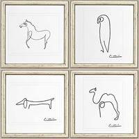 Geniaal van Picasso. Met slechts één enkele ononderbroken lijn brengt hij deze dieren op papier tot leven.