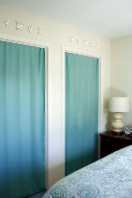 Curtain Panel, Tension Rod U003d Replaces Bi Fold Doors On Closets. Iu0027