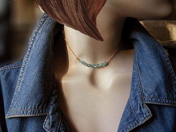 Brazilian Green Kyanite Bar Necklace / Delicate by RaquelChelouche