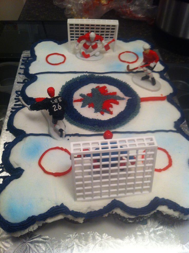 Jets cupcake hockey cake