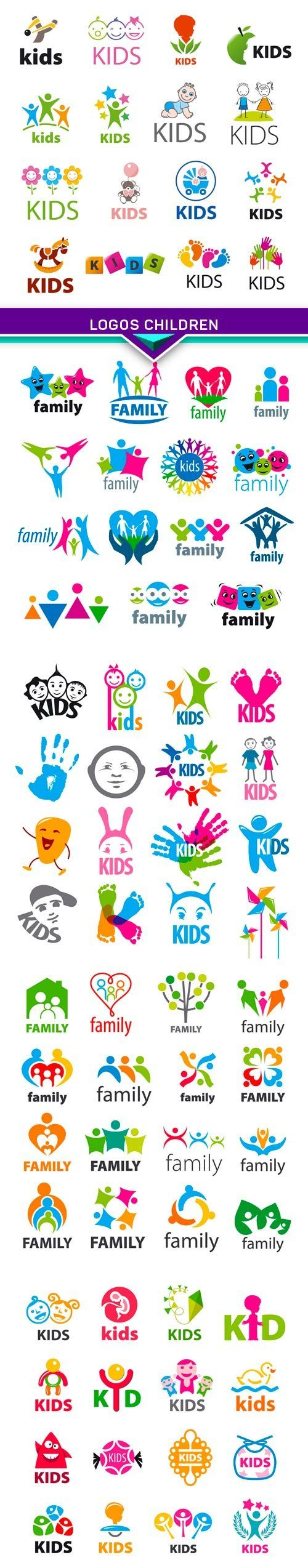 large collection of vector logos children 5x EPS