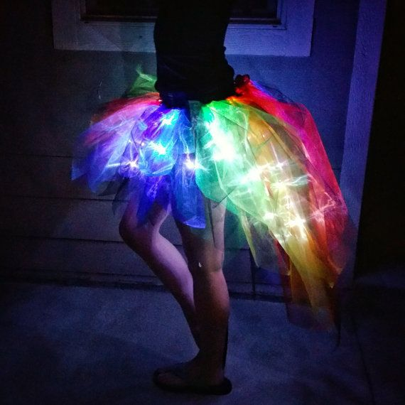 Light Up Rainbow and Black Tapered Bustle Tutu Skirt in Organza with 60 LEDs for costume / concert / rave / party / display / burning man