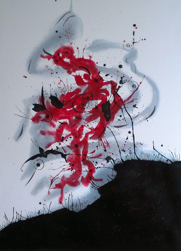 """Acuarela y tinta 60 x 80 cm """"Alegoría al nacimiento del vino"""""""