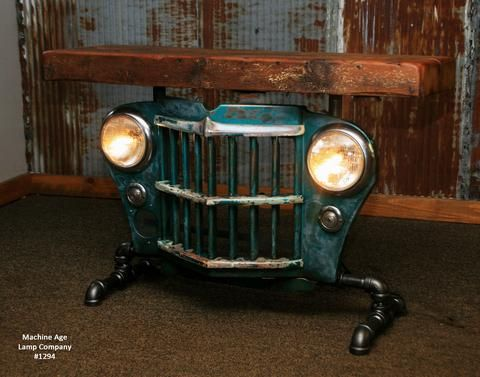 """Steampunk Industrial Antique Jeep Willys Grille Table, Console """"GREEN""""- #1294"""