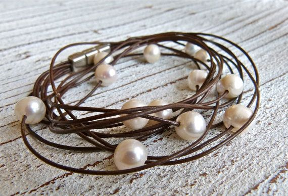 Bracelet leather with freshwater pearls to wrap on Etsy, $38.57