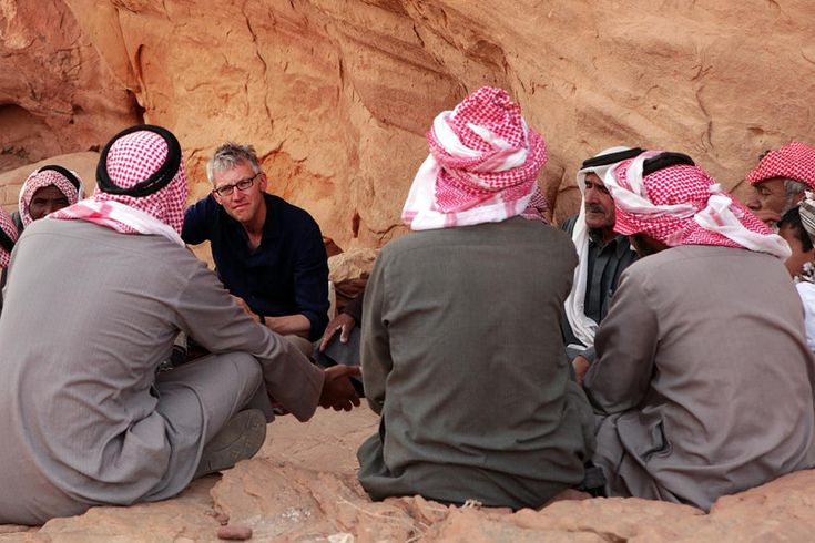 The author on location with Bedouin Arabs living on ancient trade routes in Jordan, September...