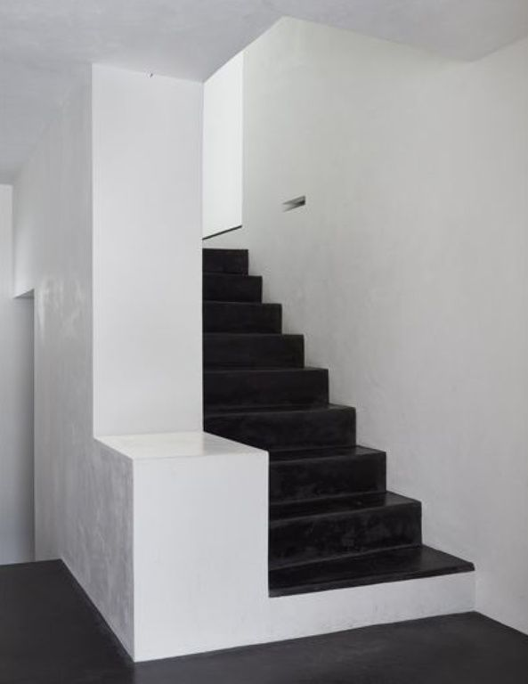 Modern Staircase with High ceiling, Concrete floors