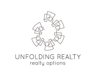 Unfolding realty Logo design - A modern, elegant logo composed of a single line forming a round contour of a repeating city skyline. The buildings depicted are reminiscent of both modern high-rises, as of classic houses, and the whole composition reminds the viewer of a picture processed using the polar panorama effect. A simple, sleek font is used for the tag line, and the logo is rendered in a sophisticated charcoal gray.<br />The ideal choice for a real estate agent, realtor, property…
