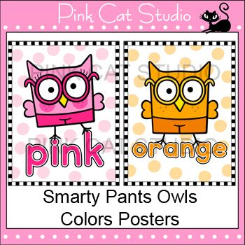 Smarty Pants Owls Theme Classroom  - Colors Posters  Flash Cards