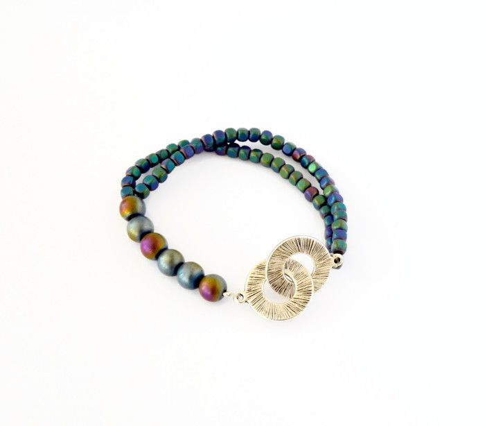 Rainbow Hematite Bracelet, Multicolor Bracelet , fashion jewelry #oyaikubijou #Beaded