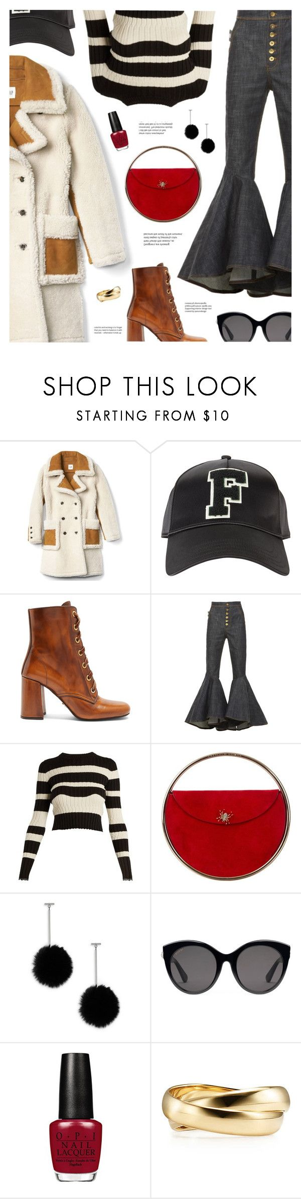 """""""Casual Friday"""" by catchsomeraes on Polyvore featuring Puma, Prada, E L L E R Y, Proenza Schouler, Charlotte Olympia, Tuleste, Gucci, stripes, Boots and Shearling"""
