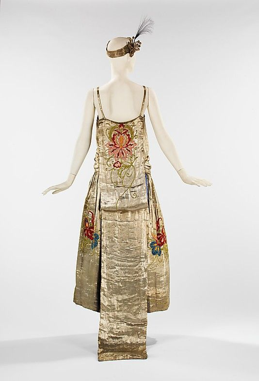 Silk evening dress with metal and feather detail by House of Lanvin [French], c. spring/summer 1923