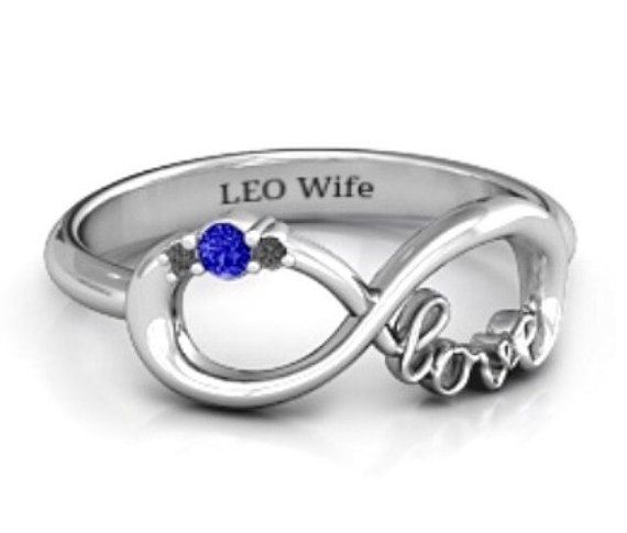 Hey, I found this really awesome Etsy listing at https://www.etsy.com/listing/246523058/size-9-leo-wife-police-infinity-ring