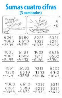 Suma de 4 cifras y 3 sumandos