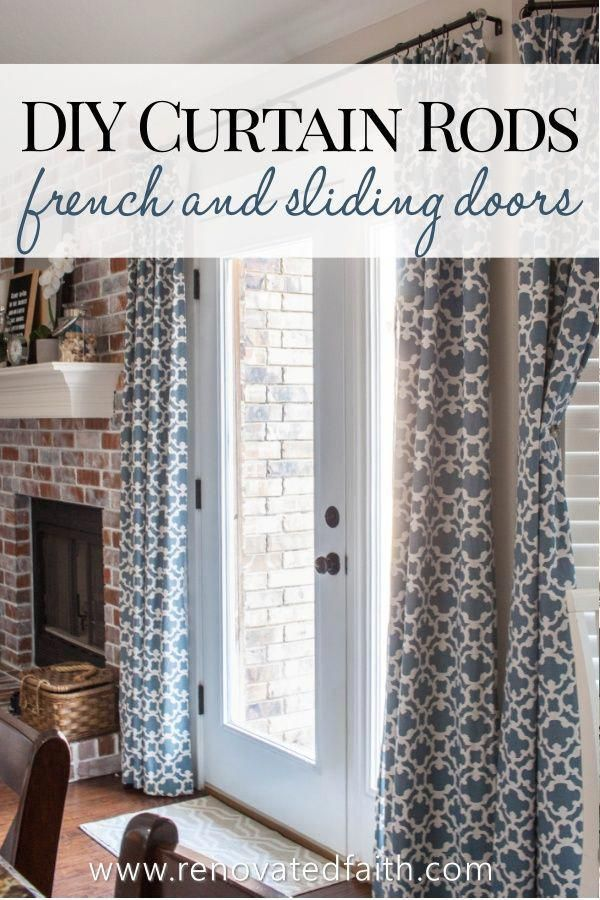 Sliding Glass Door Or French Door Diy Curtain Rods Out Of