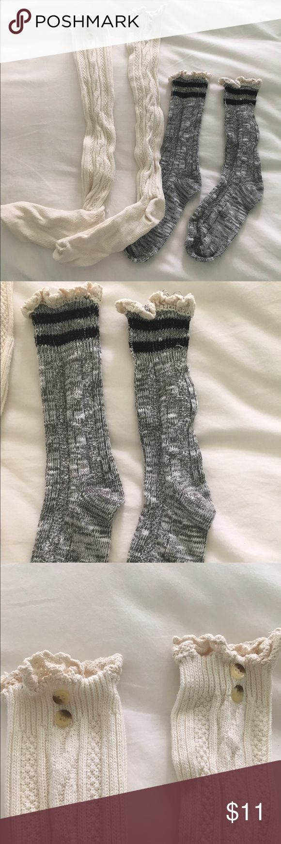 Over the knee boot socks One pair of over the knee boot socks with lace and button and one pair of ankle socks with lace, great condition never worn Other