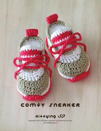 Pattern Crochet bebê Comfy do bebê Sapatilhas Crochet bebê Sapatos Crochet Sapatinho Crochet Pattern Recém-nascido Recém-nascido Sneakers