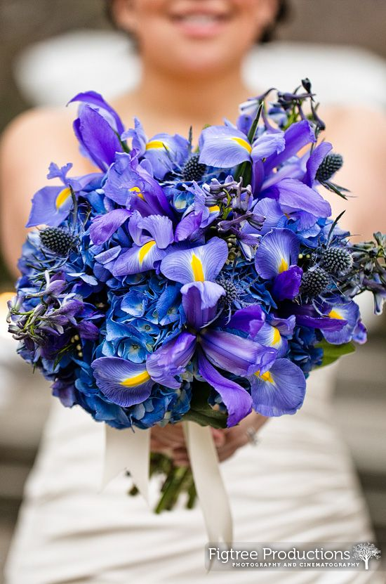 Blue bridal bouquet photographed by Figtree Productions