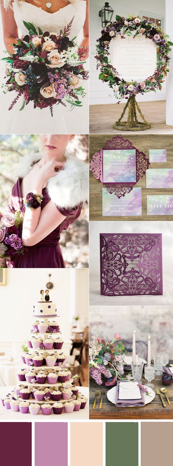 plum purple and blush fall wedding color ideas